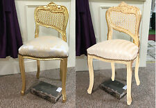 Louis French Chair Gold Shabby Chic Bedroom Dressing Hall Seat Antique Stool
