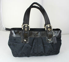 Authentic Coach Monogram Black Canvas Leather Tote Shoulder Bag Handbag Purse