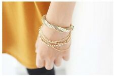 Bohemia 18K Gold Plated Rope Weave Tassel Bangle Charm Multilayer Adjustable