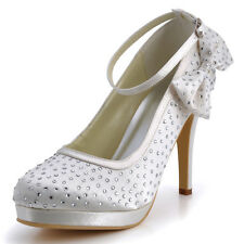 EP2012 High Heels Almond Toe Platform Satin Bowknot Wedding Evening Party Shoes