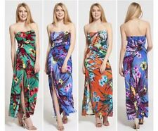 NEW WOMENS LADIES SUMMER BENDUE BOOBTUBE FLORAL PRINT SIDE SLIT LONG MAXI DRESS
