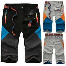 Summer Mens Overalls Lightweight 3/4 Pants Waterproof Climbing Hiking Trousers