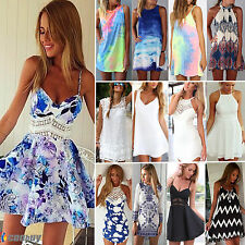 Sexy Womens Summer Floral Boho Party Dress Casual Beach Evening Mini Dresses Top