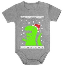 Big Green Trex Santa Ugly Christmas Sweater Bodysuit Baby Onesie Baby Grow Vest