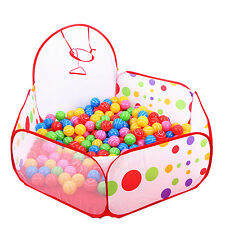 Kids Ocean Ball Pit Pool Play Tent with Mini Basketball Hoop Indoor Outdoor Toys