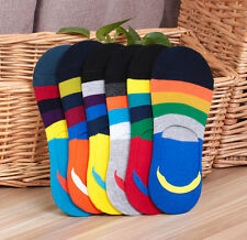 5 Pairs Summer Mens Ankle Socks Lot Invisible Colorful Stripe Casual Cotton Sock
