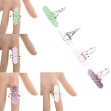 Hexagon Adjustable  Prism Crystal Quartz Gem Stone Bead Wire Chakra Finger Ring