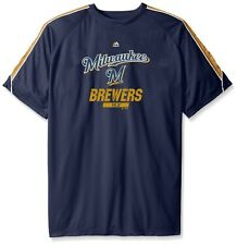 Milwaukee Brewers Majestic MLB Mens Birdseye Crewneck Shirt Big & Tall Sizes