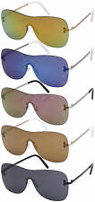 One Piece Laser Etched Aviator Sunglasses with Flat Mirrored Lens 541020A-FLREV