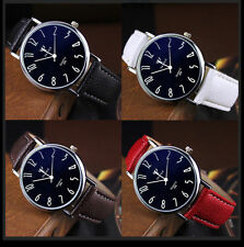 Fashion Stainless Steel Leather Men's Military Sport Quartz Analog Wrist Watch