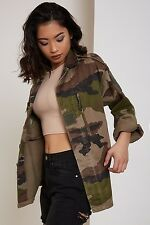 Womens ARMY Camouflage Bomber Jacket Ladies Vintage Zip Up Biker Coat Stylish