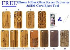 """For iPhone 6/6S Plus 5.5"""" Wood Case Bamboo Wooden Cover Natural Tempered Glass"""