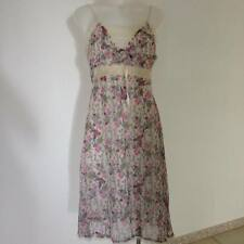 SALE NEW Ladies Womens Cream Pink Vintage Floral Print Dress with Lace S