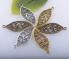 free ship tibetan silver gold bronze hollow out the leaves charm pendant 43x18mm