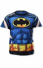 Boys Dress Up Batman Superman Costume Novelty T-Shirt Top Super Hero Tee Age3-8