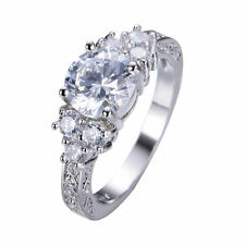 White Sapphire Band Women's 10Kt White Gold Filled Wedding Gift Ring Size 6-10