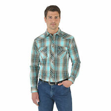 Wrangler MV1402M Western Jean Spread Collar Plaid - Turquoise/Yellow -No tax!!