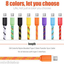 1/2/3M Nylon Braided USB 3.1 Type-C Transfer Data Sync Line Charging Cable HOT