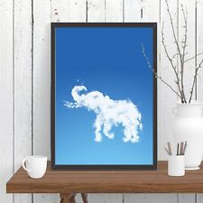 Elephant Cloud Print Poster Blue Sky Whimsical Wall African Home Decor A4 A3 A2