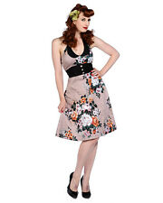 Banned Apparel Rockabilly Pin Up Pink Floral Cocktail Dress Halter Neck Party