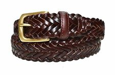 W796 - Women's casual nautical woven braided leather belt with brass buckle