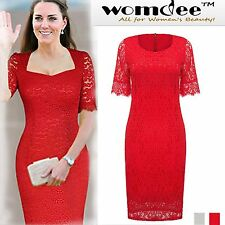Womdee Women Full Lace Bodycon Cocktail Party Evening Tunic Wiggle Pencil Dress