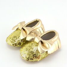 Fashion Infant Baby Girls Tassel Blink Sequin Prewalker Bow Soft Sole Crib Shoes