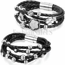 Stainless Steel Charm Flower Beads Braided Leather Women's Bangle Bracelet Cuff