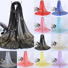 Women Long Scarf Soft Wrap Shawl Peacock Print Chiffon Stole Kerchief Gold CA