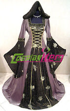 Black Hooded Italian Medieval Gown Renaissance Maiden Dress Costume Fancy Dress