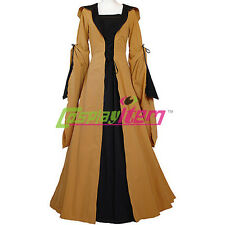 Yellow Black Hooded Medieval Dress Victorian Renaissance Gothic Dress Costume