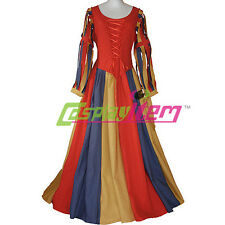Womens Medieval Renaissance Victorian Maiden Dress Costume Cosplay For Halloween