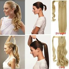 US 100% Real New Clip In human Hair Extension Pony Tail Wrap Around Ponytail lku