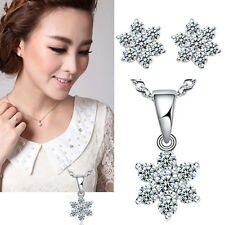 Fashion Crystal Charm Gem Silver Plated Necklace Pendant / Earrings Studs j