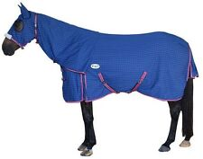 CARIBU Navy Paddock RIPSTOP Attached Hood Horse Rug/Show Set. Diamond Ripstop
