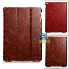 iCareR Tri-Fold Smart Magnetic Genuine Leather Case Cover For iPad Air 2【US】