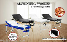 Portable Aluminium 3 Fold Massage Table Chair Bed