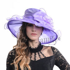 Formal lady church wedding derby dress hat wide brim large floral party hat S060