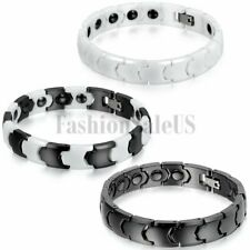 Men's Charm Stylish Glossy Ceramic Health Powerful Bracelet Magnetic Chain Link