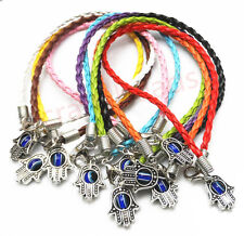 "10/100Pcs Leather cord Mixed HAMSA HAND ""Evil Eye""String Bracelets Lucky B37B"