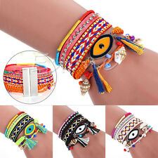 Women's Magnetic Clasp Braided Wrap Rope Handmade Chain Bracelet Charm Bangle