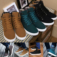 Mens High-top Slip On Lace Up Shoes Sneakers Suede Flat Ankle Boots Canvas Shoes