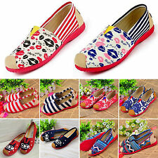Women Ethnic Boho Canvas Shoes Casual Ballet Slip On Flat Ballerina Loafer Shoes