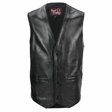 New Mens Black Real Leather Waistcoat Vintage Biker Style Retro Motorcycle Vest
