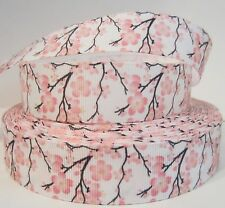 "GROSGRAIN CHERRY BLOSSOMS PRINT 1"" INCH PRINTED GROSGRAIN RIBBON 1, 3 or 5 YARDS"