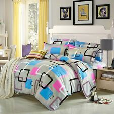 Matrix Square Singl Double Queen King Size Bed Set Pillowcase Quilt Duvet Cover