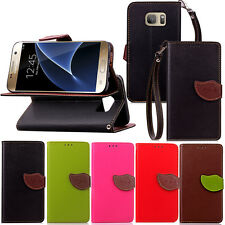 Leaf Fashion Leather Flip Stand Wallet Card Holder Case Cover For Samsung Galaxy