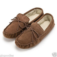 Unisex Soft Sole Tan Lambswool Moccasins - Mens & Ladies Slippers