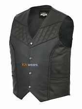 Mens Real Leather Biker Motorcycle Waistcoat Black Vest Buttons Full Style