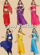 Belly Dance Frills Skirt Beaded Sequins Top Bollywood Dancing Sequin Set Costume